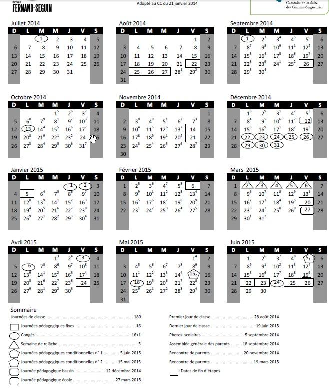 Calendrier scolaire cole fernand seguin - Calendrier scolaire 2014 2015 ...